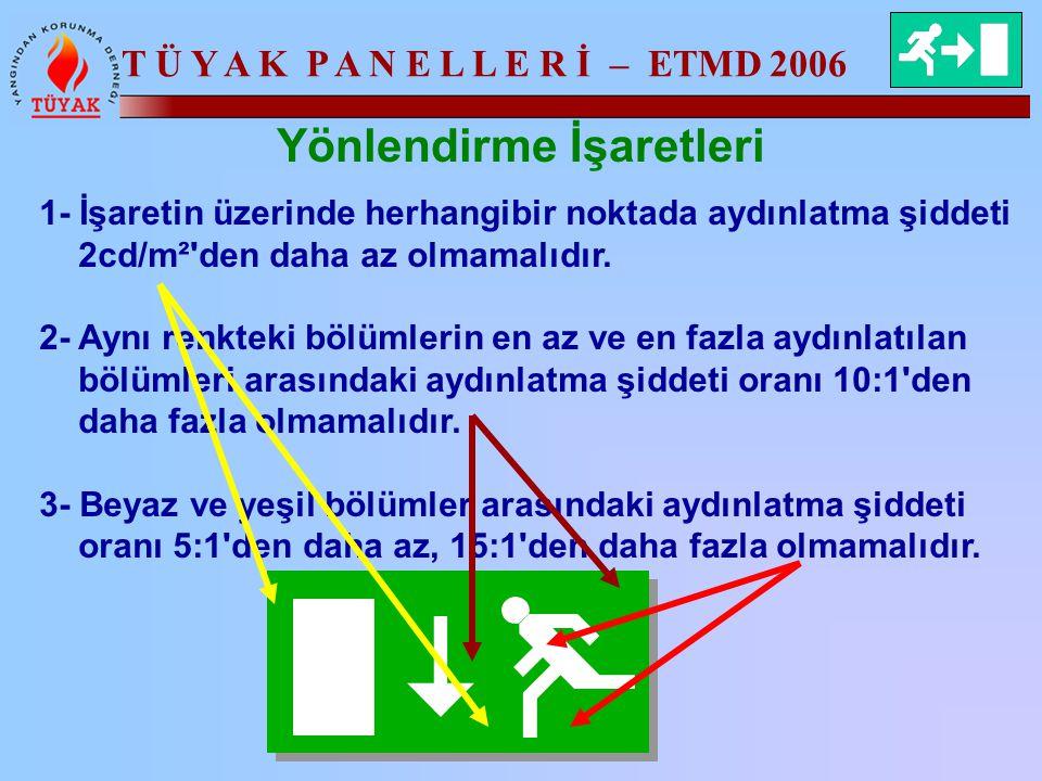 T Ü Y A K P A N E L L E R İ – ETMD 2006 Yönlendirme İşaretleri 1- İşaretin üzerinde herhangibir noktada aydınlatma şiddeti 2cd/m²'den daha az olmamalı