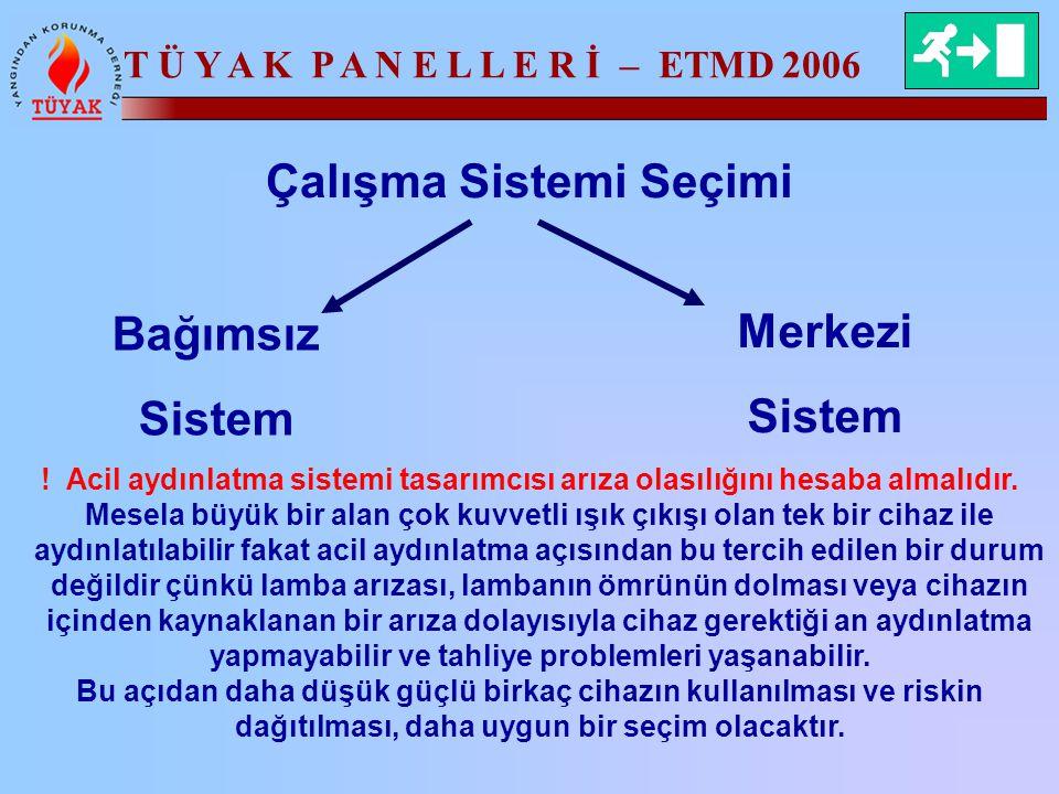 T Ü Y A K P A N E L L E R İ – ETMD 2006 Çalışma Sistemi Seçimi Bağımsız Sistem Merkezi Sistem ! Acil aydınlatma sistemi tasarımcısı arıza olasılığını
