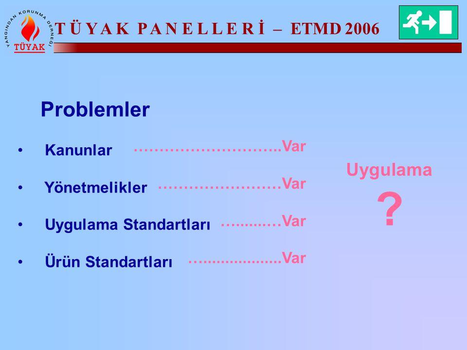 T Ü Y A K P A N E L L E R İ – ETMD 2006 Problemler Kanunlar Yönetmelikler Uygulama Standartları Ürün Standartları ………………………..Var ……………………Var ….......…