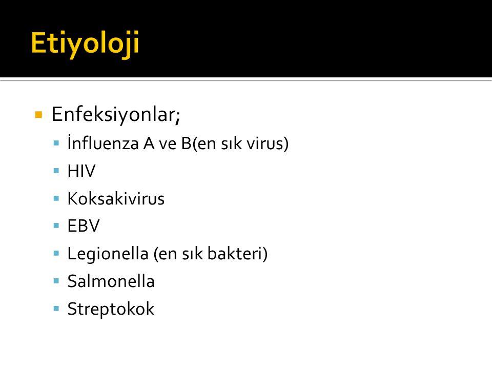  Enfeksiyonlar;  İnfluenza A ve B(en sık virus)  HIV  Koksakivirus  EBV  Legionella (en sık bakteri)  Salmonella  Streptokok