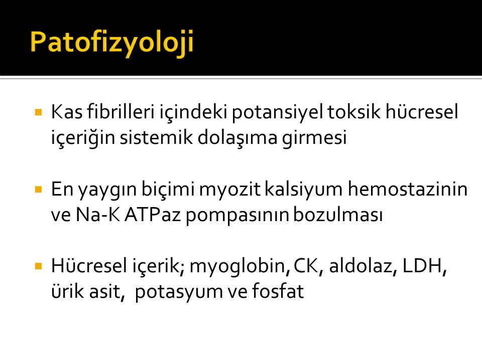  Kas fibrilleri içindeki potansiyel toksik hücresel içeriğin sistemik dolaşıma girmesi  En yaygın biçimi myozit kalsiyum hemostazinin ve Na-K ATPaz