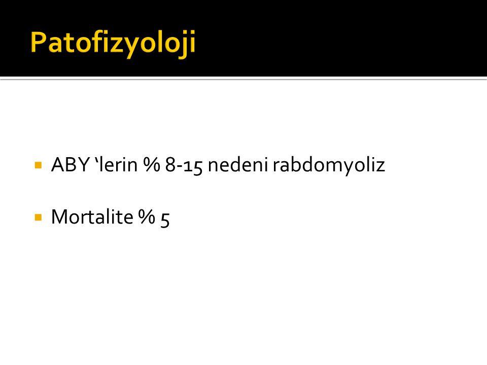  ABY 'lerin % 8-15 nedeni rabdomyoliz  Mortalite % 5
