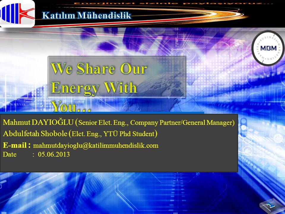 Mahmut DAYIOĞLU ( Senior Elct. Eng., Company Partner/General Manager) Abdulfetah Shobole ( Elct. Eng., YTÜ Phd Student ) E-mail : mahmutdayioglu@katil