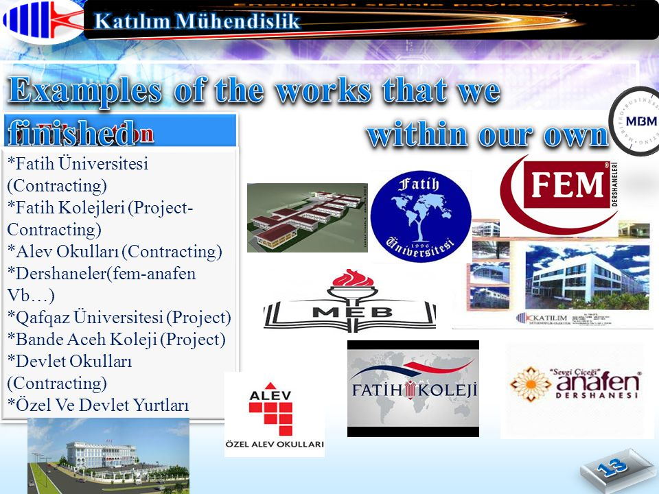 *Fatih Üniversitesi (Contracting) *Fatih Kolejleri (Project- Contracting) *Alev Okulları (Contracting) *Dershaneler(fem-anafen Vb…) *Qafqaz Üniversite