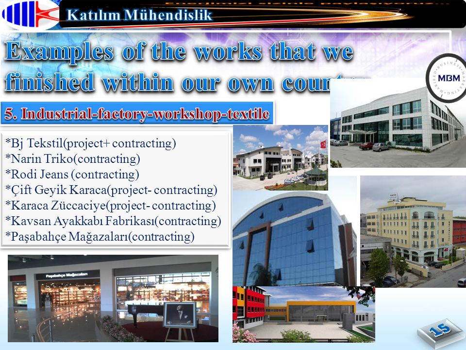 *Bj Tekstil(project+ contracting) *Narin Triko(contracting) *Rodi Jeans (contracting) *Çift Geyik Karaca(project- contracting) *Karaca Züccaciye(project- contracting) *Kavsan Ayakkabı Fabrikası(contracting) *Paşabahçe Mağazaları(contracting) *Bj Tekstil(project+ contracting) *Narin Triko(contracting) *Rodi Jeans (contracting) *Çift Geyik Karaca(project- contracting) *Karaca Züccaciye(project- contracting) *Kavsan Ayakkabı Fabrikası(contracting) *Paşabahçe Mağazaları(contracting)