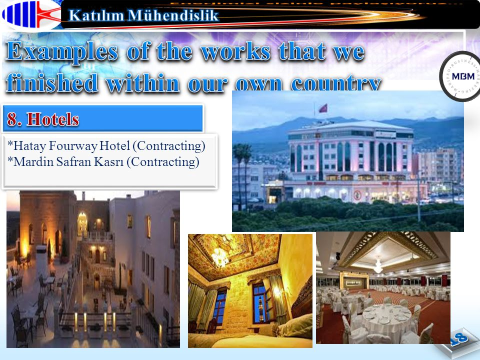 *Hatay Fourway Hotel (Contracting) *Mardin Safran Kasrı (Contracting) *Hatay Fourway Hotel (Contracting) *Mardin Safran Kasrı (Contracting)