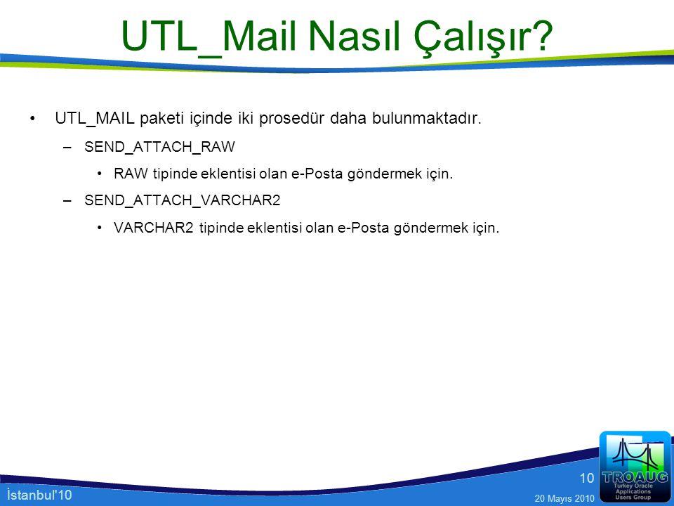 İstanbul'10 20 Mayıs 2010 10 UTL_Mail Nasıl Çalışır? UTL_MAIL paketi içinde iki prosedür daha bulunmaktadır. –SEND_ATTACH_RAW RAW tipinde eklentisi ol