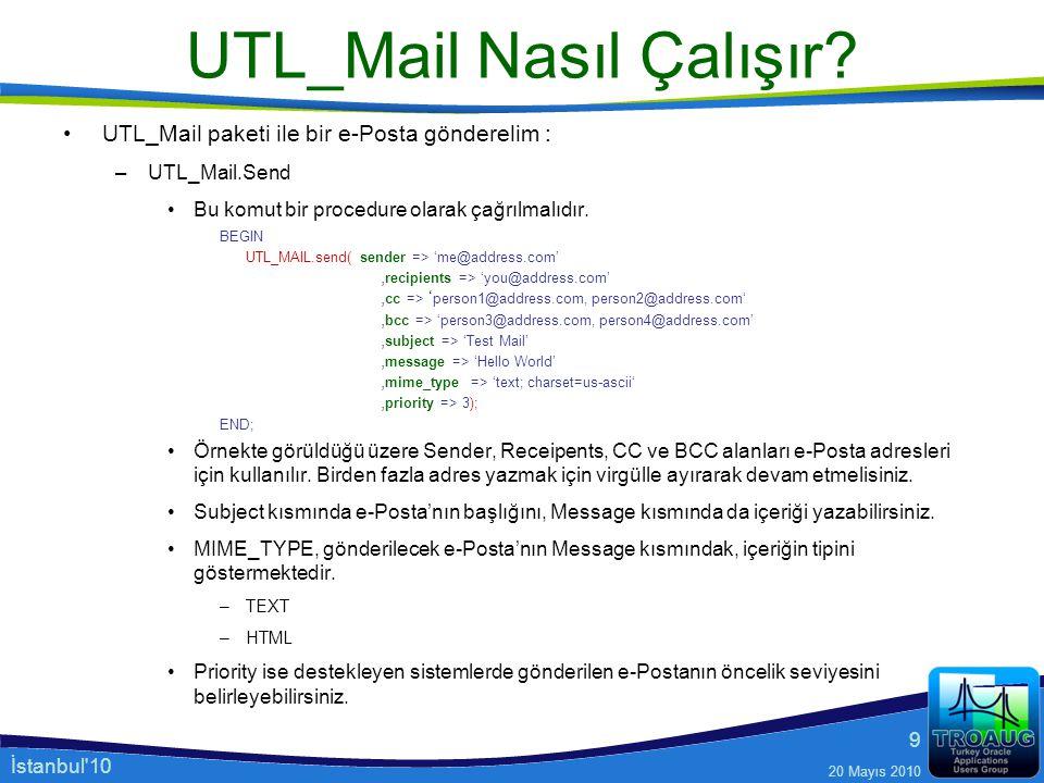 İstanbul'10 20 Mayıs 2010 9 UTL_Mail Nasıl Çalışır? UTL_Mail paketi ile bir e-Posta gönderelim : –UTL_Mail.Send Bu komut bir procedure olarak çağrılma