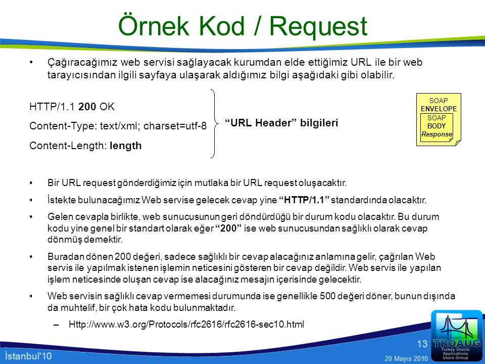 İstanbul'10 20 Mayıs 2010 13 Örnek Kod / Request Çağıracağımız web servisi sağlayacak kurumdan elde ettiğimiz URL ile bir web tarayıcısından ilgili sa