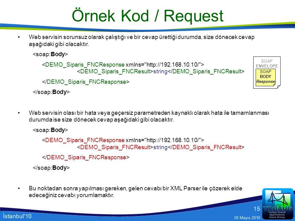 İstanbul'10 20 Mayıs 2010 15 Örnek Kod / Request Web servisin sorunsuz olarak çalıştığı ve bir cevap ürettiği durumda, size dönecek cevap aşağıdaki gi