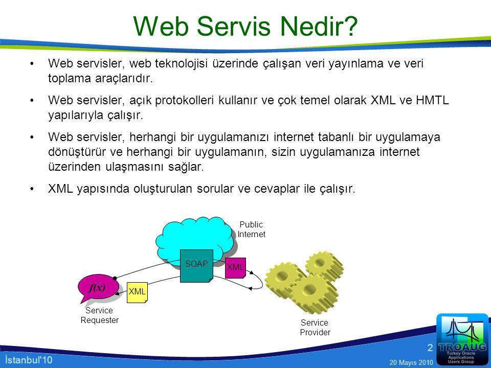 İstanbul'10 20 Mayıs 2010 2 Web Servis Nedir? Web servisler, web teknolojisi üzerinde çalışan veri yayınlama ve veri toplama araçlarıdır. Web servisle