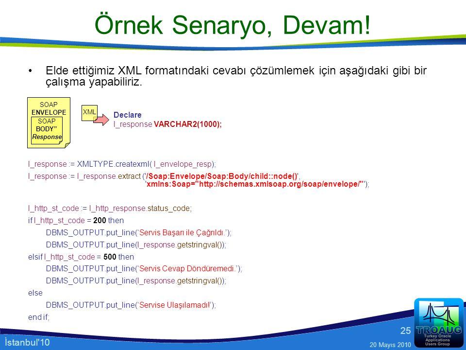 İstanbul'10 20 Mayıs 2010 25 Örnek Senaryo, Devam! Elde ettiğimiz XML formatındaki cevabı çözümlemek için aşağıdaki gibi bir çalışma yapabiliriz. l_re