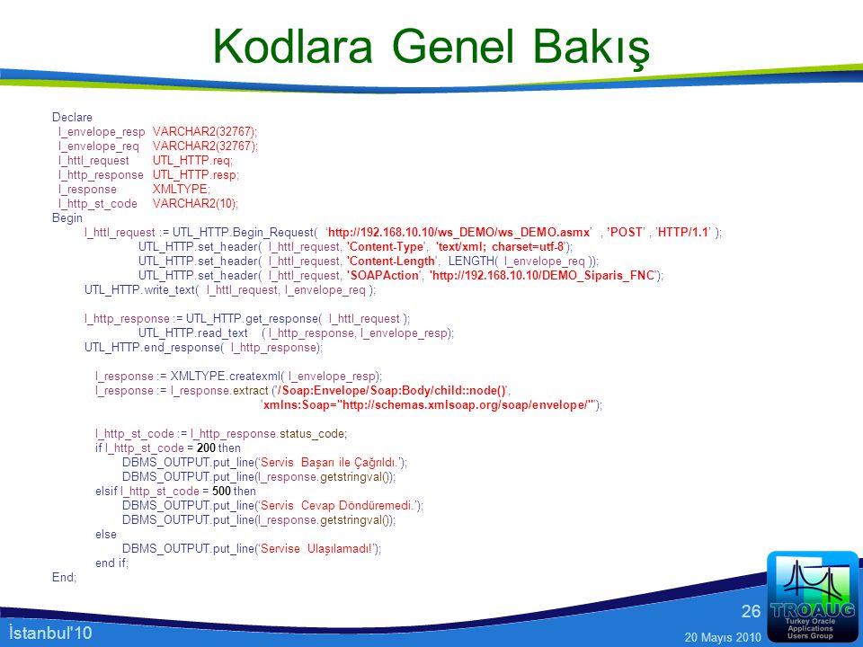 İstanbul'10 20 Mayıs 2010 26 Kodlara Genel Bakış Declare l_envelope_resp VARCHAR2(32767); l_envelope_req VARCHAR2(32767); l_httl_request UTL_HTTP.req;
