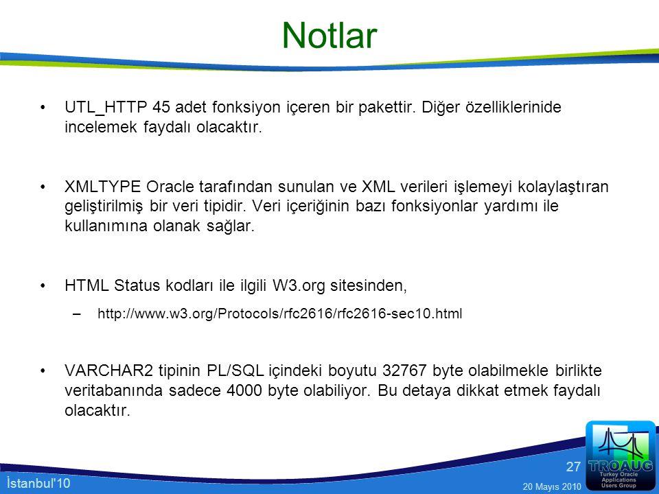 İstanbul'10 20 Mayıs 2010 27 Notlar UTL_HTTP 45 adet fonksiyon içeren bir pakettir. Diğer özelliklerinide incelemek faydalı olacaktır. XMLTYPE Oracle