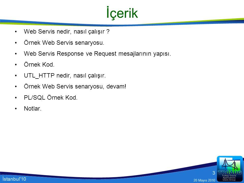 İstanbul'10 20 Mayıs 2010 3 İçerik Web Servis nedir, nasıl çalışır ? Örnek Web Servis senaryosu. Web Servis Response ve Request mesajlarının yapısı. Ö