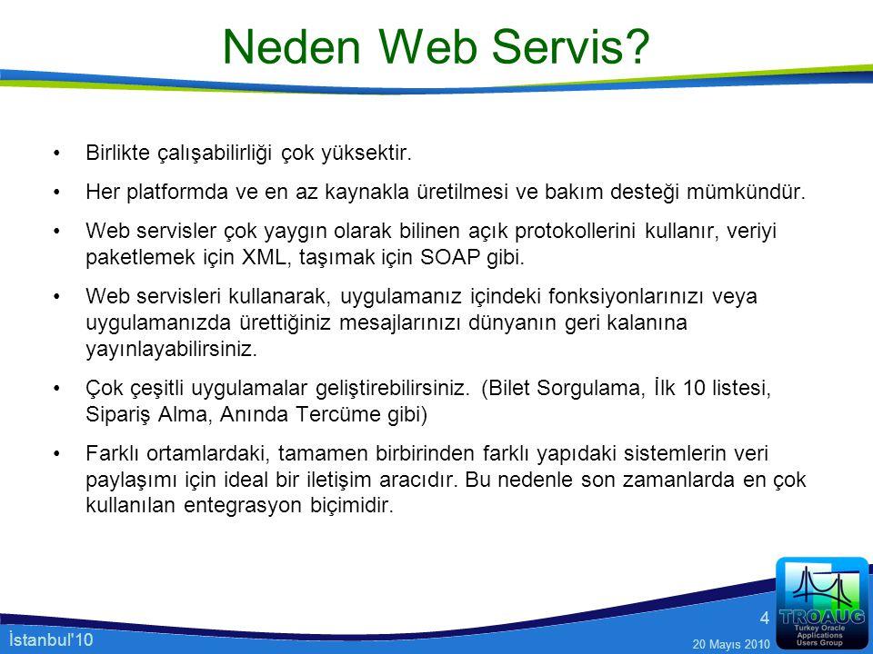 İstanbul'10 20 Mayıs 2010 4 Neden Web Servis? Birlikte çalışabilirliği çok yüksektir. Her platformda ve en az kaynakla üretilmesi ve bakım desteği müm