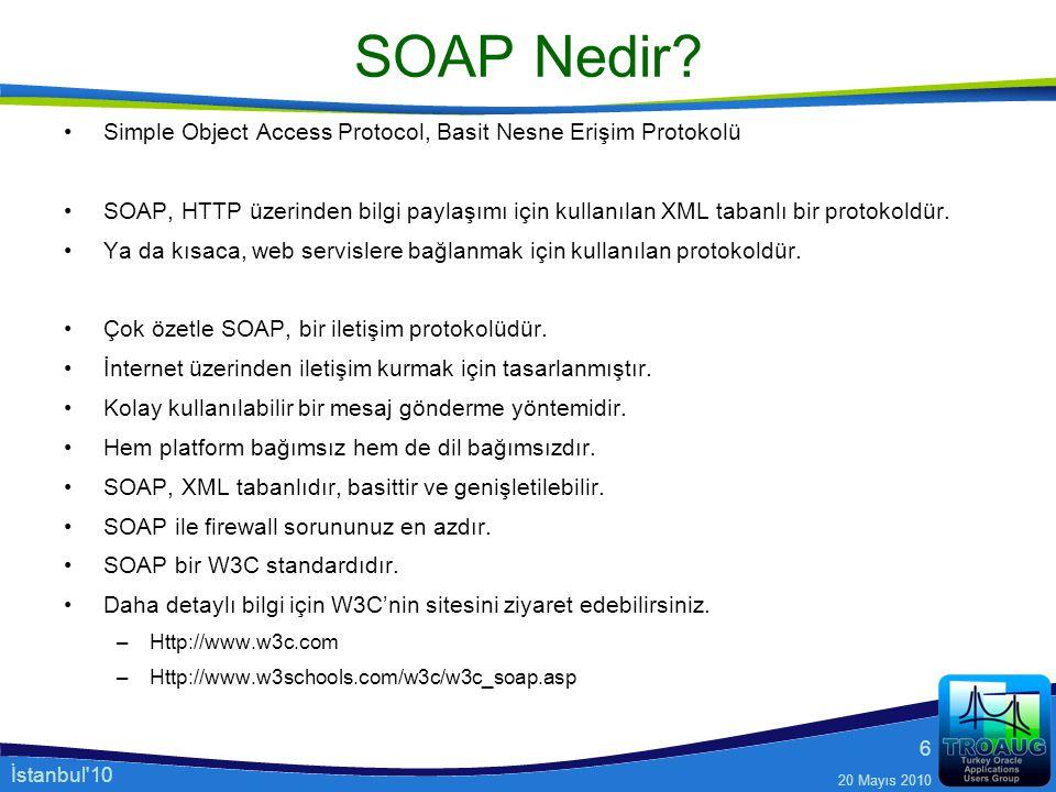 İstanbul'10 20 Mayıs 2010 6 SOAP Nedir? Simple Object Access Protocol, Basit Nesne Erişim Protokolü SOAP, HTTP üzerinden bilgi paylaşımı için kullanıl