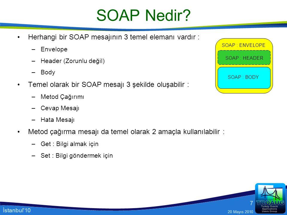 İstanbul'10 20 Mayıs 2010 7 SOAP Nedir? Herhangi bir SOAP mesajının 3 temel elemanı vardır : –Envelope –Header (Zorunlu değil) –Body Temel olarak bir