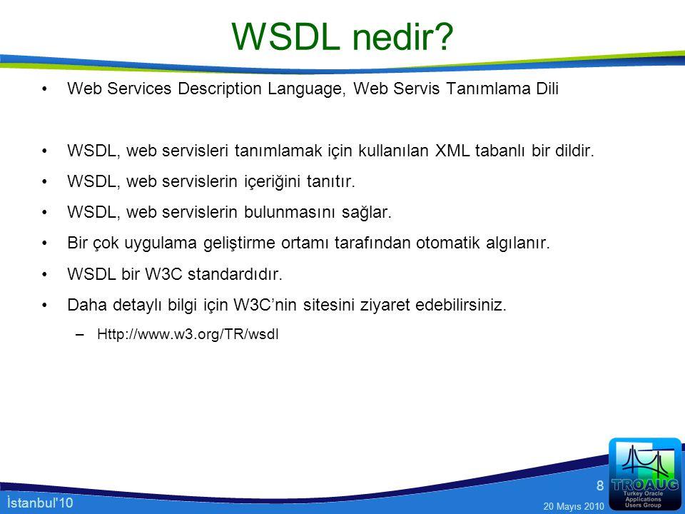 İstanbul'10 20 Mayıs 2010 8 WSDL nedir? Web Services Description Language, Web Servis Tanımlama Dili WSDL, web servisleri tanımlamak için kullanılan X