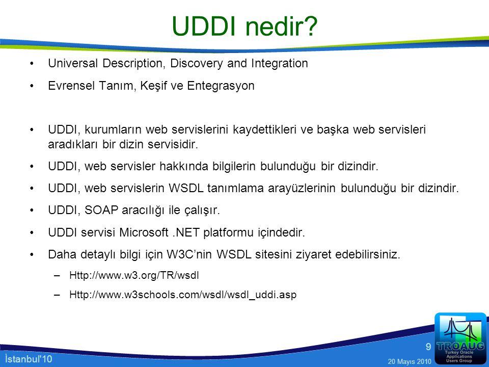 İstanbul'10 20 Mayıs 2010 9 UDDI nedir? Universal Description, Discovery and Integration Evrensel Tanım, Keşif ve Entegrasyon UDDI, kurumların web ser