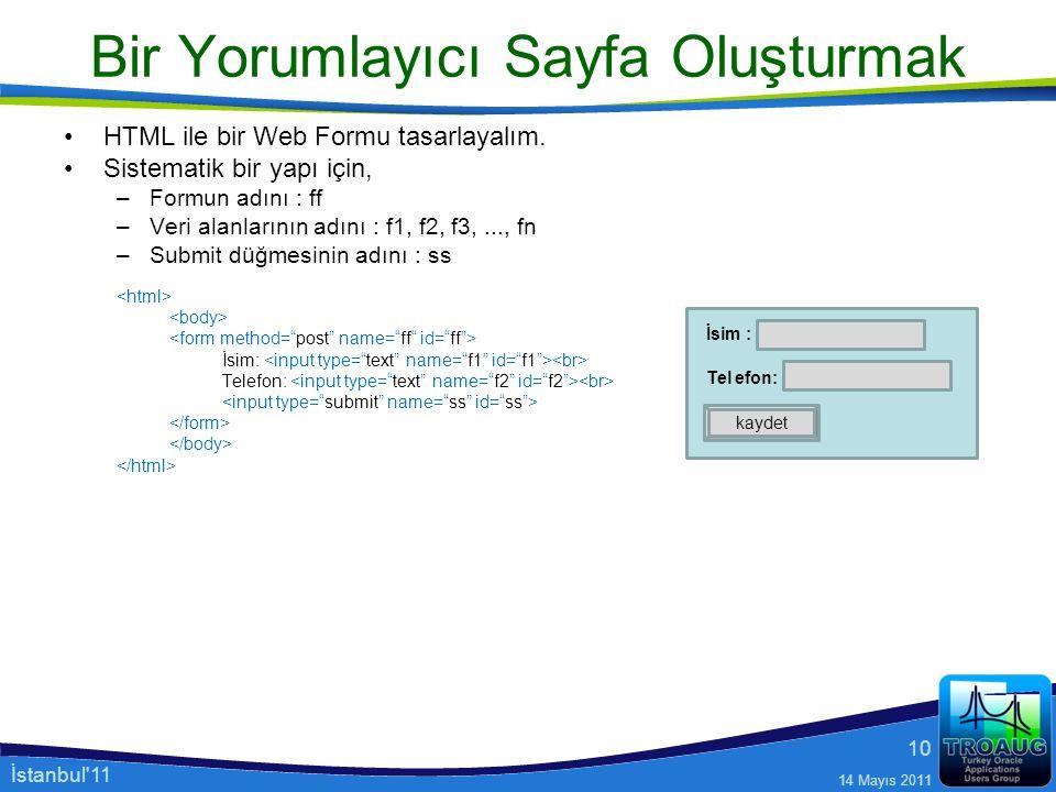 İstanbul'11 14 Mayıs 2011 10 Bir Yorumlayıcı Sayfa Oluşturmak HTML ile bir Web Formu tasarlayalım. Sistematik bir yapı için, –Formun adını : ff –Veri