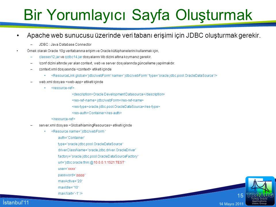 Apache web sunucusu üzerinde veri tabanı erişimi için JDBC oluşturmak gerekir. –JDBC : Java Database Connector Örnek olarak Oracle 10g veritabanına er