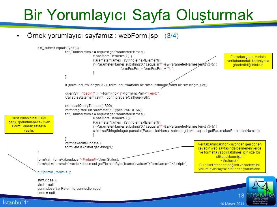İstanbul'11 14 Mayıs 2011 18 Bir Yorumlayıcı Sayfa Oluşturmak Örnek yorumlayıcı sayfamız : webForm.jsp if (f_submit.equals(