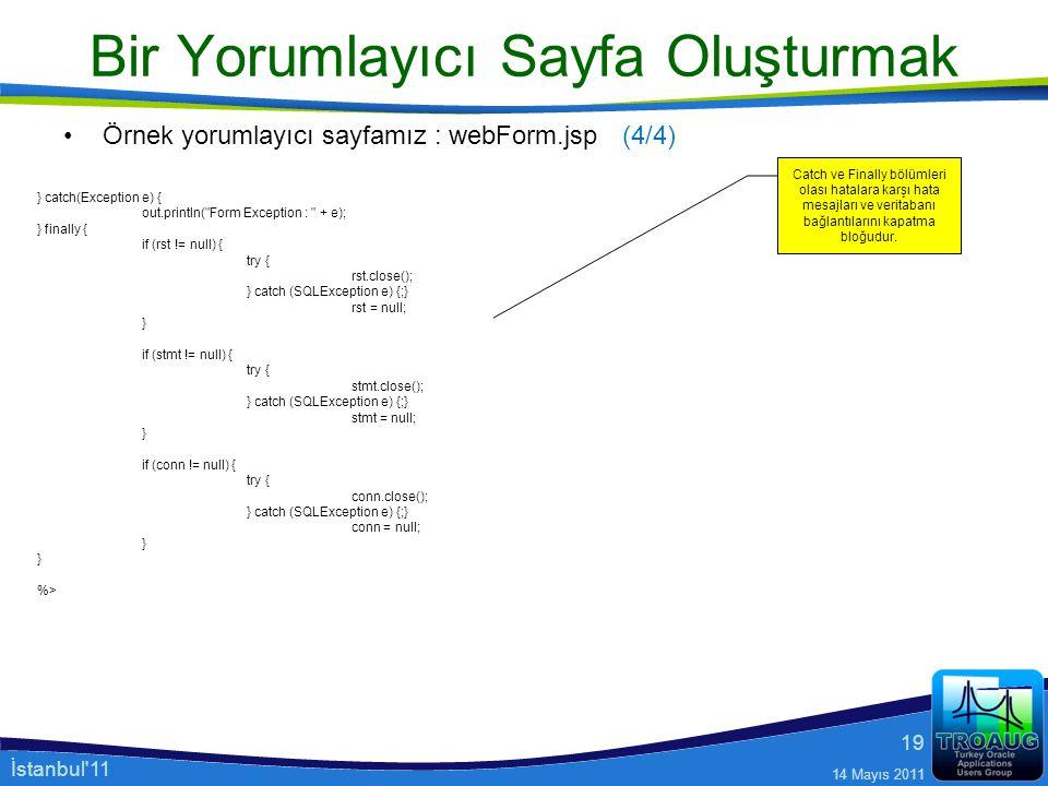 İstanbul'11 14 Mayıs 2011 19 Bir Yorumlayıcı Sayfa Oluşturmak Örnek yorumlayıcı sayfamız : webForm.jsp } catch(Exception e) { out.println(