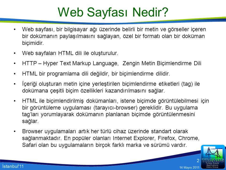 İstanbul'11 14 Mayıs 2011 2 Web Sayfası Nedir? Web sayfası, bir bilgisayar ağı üzerinde belirli bir metin ve görseller içeren bir dokümanın paylaşılma