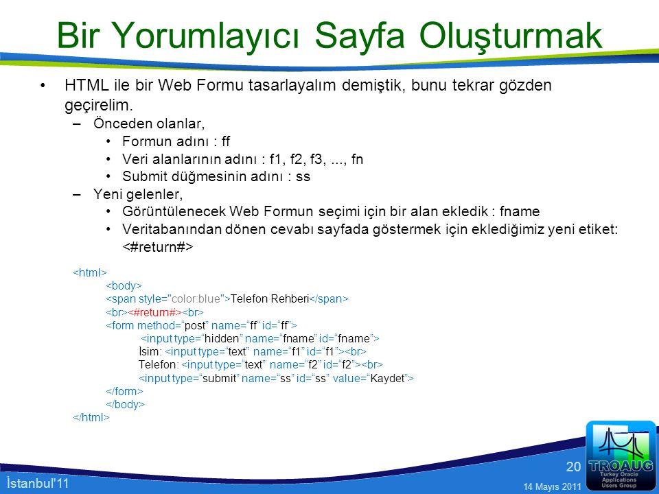 İstanbul'11 14 Mayıs 2011 20 Bir Yorumlayıcı Sayfa Oluşturmak HTML ile bir Web Formu tasarlayalım demiştik, bunu tekrar gözden geçirelim. –Önceden ola