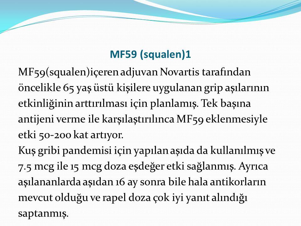 MF59 (squalen)1 MF59(squalen)içeren adjuvan Novartis tarafından öncelikle 65 yaş üstü kişilere uygulanan grip aşılarının etkinliğinin arttırılması içi
