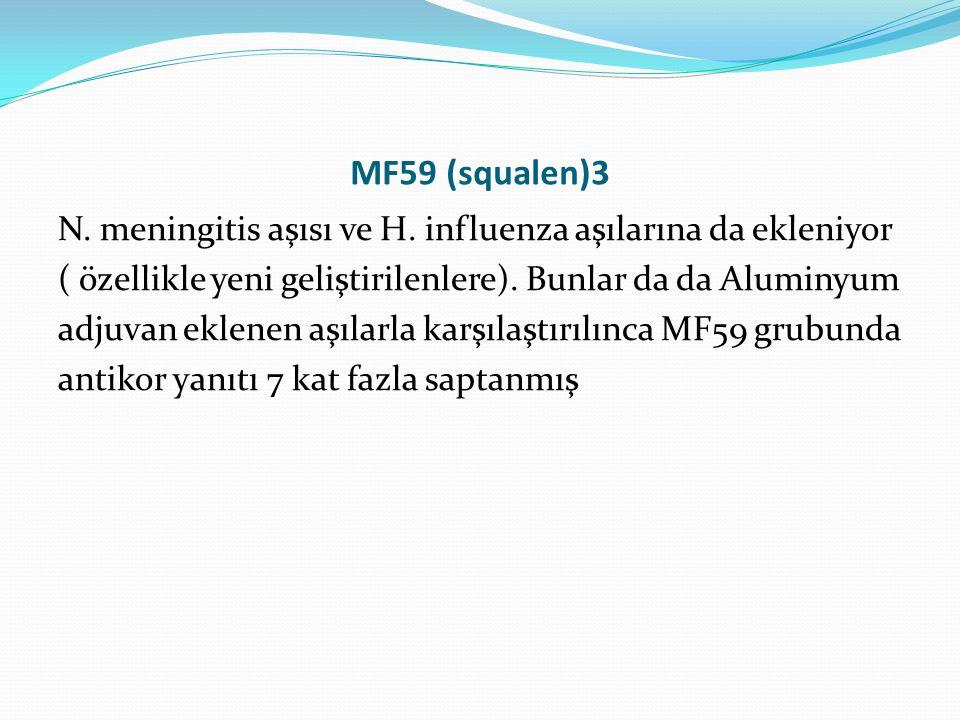 MF59 (squalen)3 N. meningitis aşısı ve H. influenza aşılarına da ekleniyor ( özellikle yeni geliştirilenlere). Bunlar da da Aluminyum adjuvan eklenen