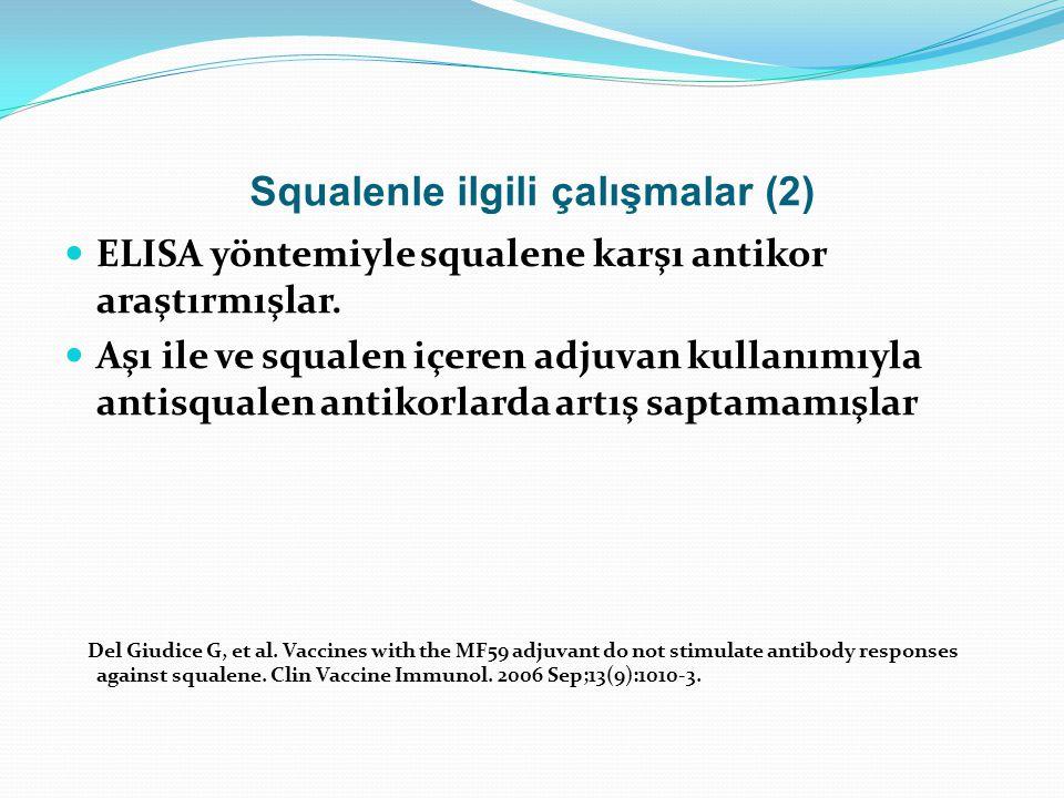 Squalenle ilgili çalışmalar (2) ELISA yöntemiyle squalene karşı antikor araştırmışlar. Aşı ile ve squalen içeren adjuvan kullanımıyla antisqualen anti