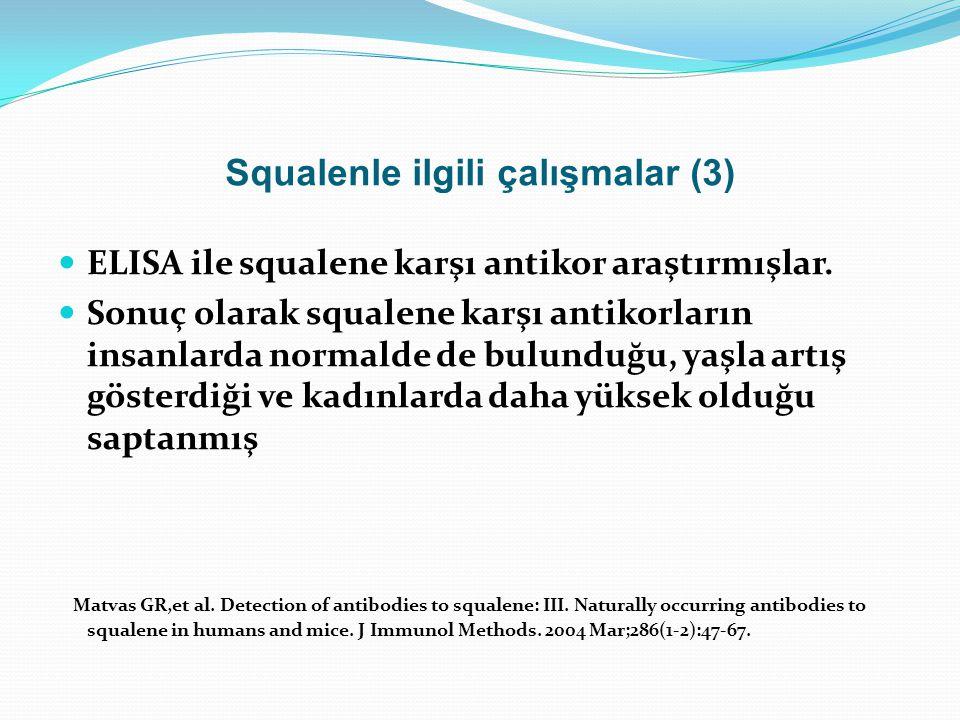 Squalenle ilgili çalışmalar (3) ELISA ile squalene karşı antikor araştırmışlar. Sonuç olarak squalene karşı antikorların insanlarda normalde de bulund