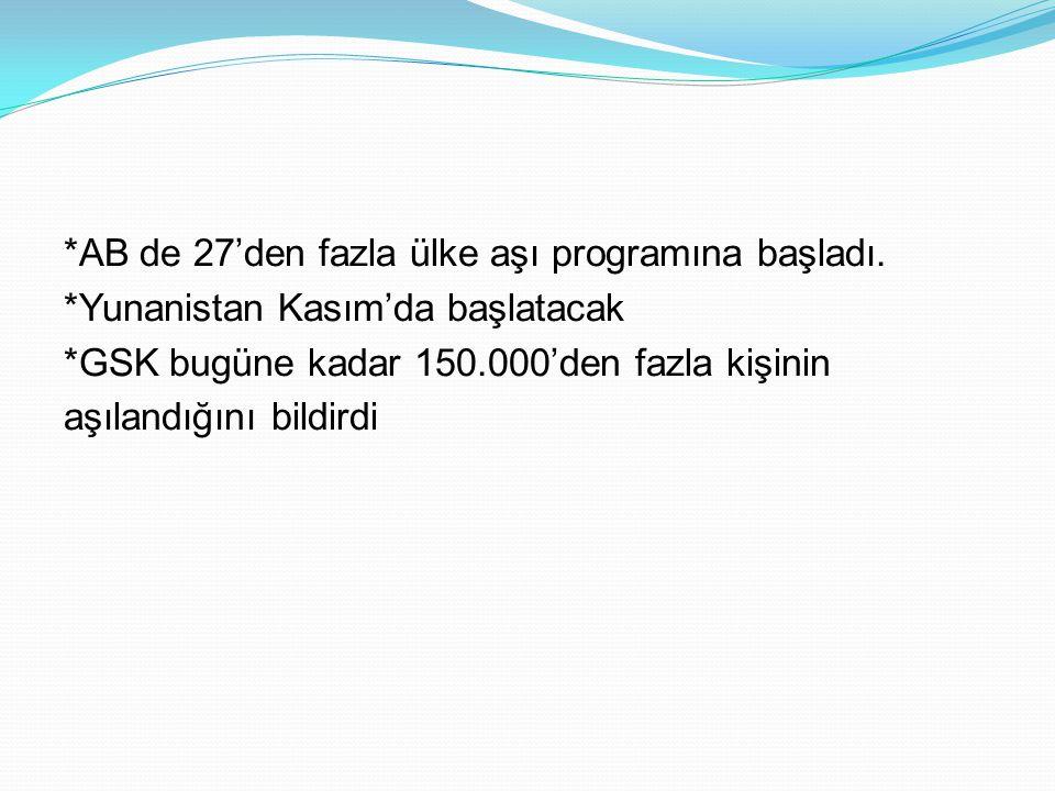 *AB de 27'den fazla ülke aşı programına başladı. *Yunanistan Kasım'da başlatacak *GSK bugüne kadar 150.000'den fazla kişinin aşılandığını bildirdi