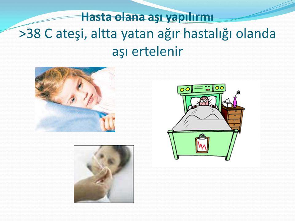 Hasta olana aşı yapılırmı >38 C ateşi, altta yatan ağır hastalığı olanda aşı ertelenir