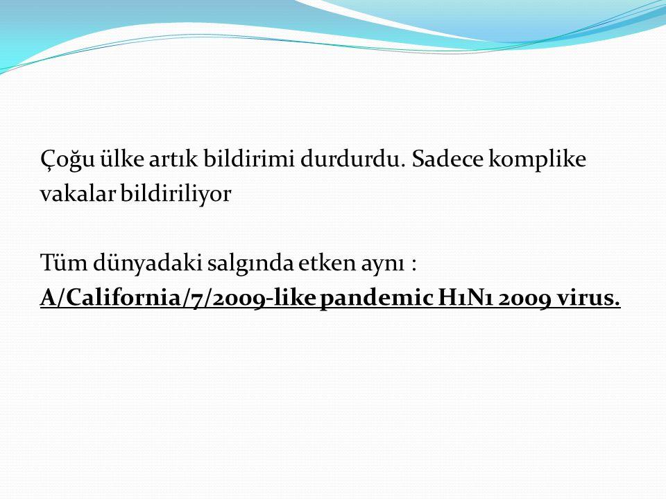Çoğu ülke artık bildirimi durdurdu. Sadece komplike vakalar bildiriliyor Tüm dünyadaki salgında etken aynı : A/California/7/2009-like pandemic H1N1 20
