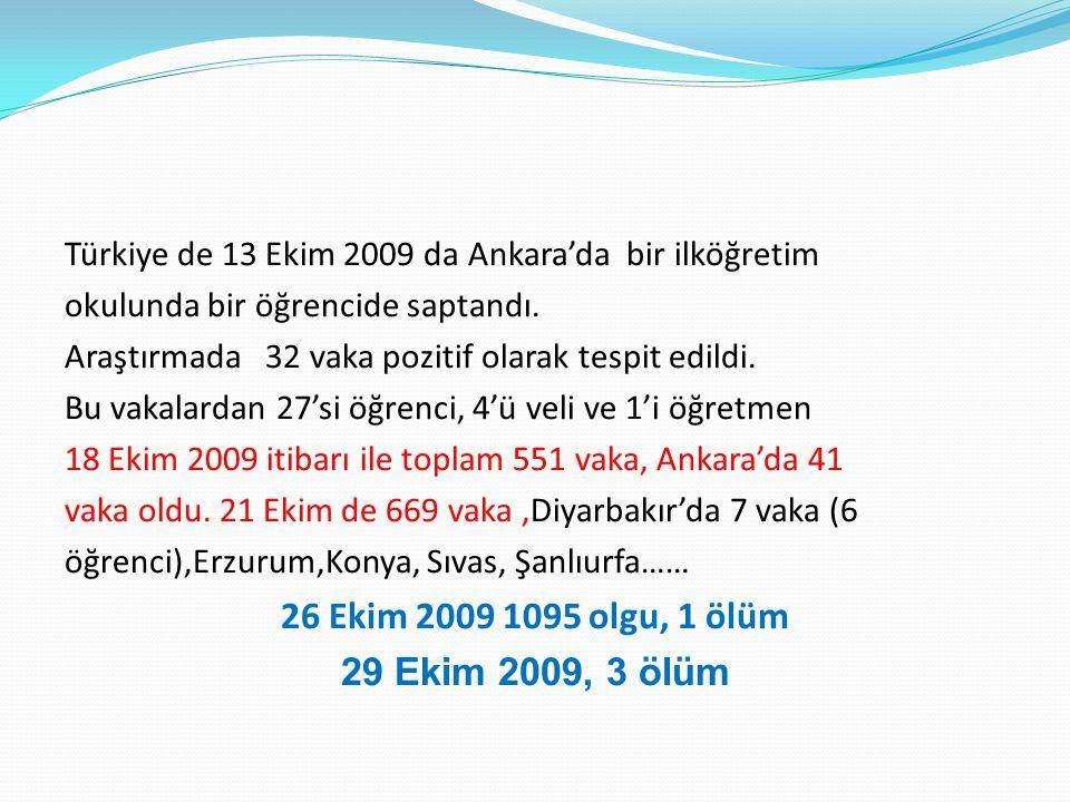 Türkiye de 13 Ekim 2009 da Ankara'da bir ilköğretim okulunda bir öğrencide saptandı. Araştırmada 32 vaka pozitif olarak tespit edildi. Bu vakalardan 2