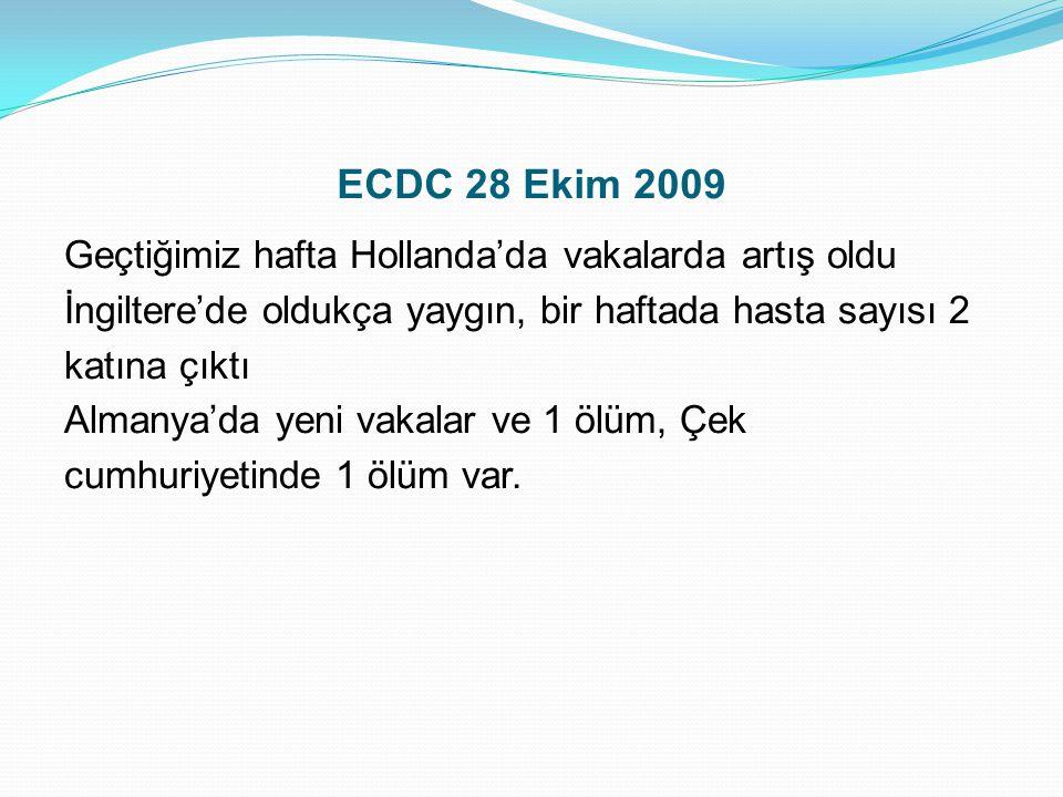 ECDC 28 Ekim 2009 Geçtiğimiz hafta Hollanda'da vakalarda artış oldu İngiltere'de oldukça yaygın, bir haftada hasta sayısı 2 katına çıktı Almanya'da ye