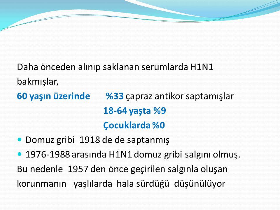 Daha önceden alınıp saklanan serumlarda H1N1 bakmışlar, 60 yaşın üzerinde %33 çapraz antikor saptamışlar 18-64 yaşta %9 Çocuklarda %0 Domuz gribi 1918