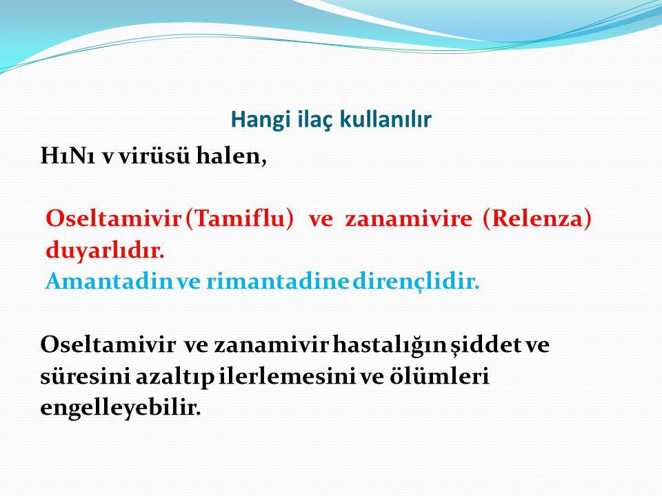 Hangi ilaç kullanılır H1N1 v virüsü halen, Oseltamivir (Tamiflu) ve zanamivire (Relenza) duyarlıdır. Amantadin ve rimantadine dirençlidir. Oseltamivir