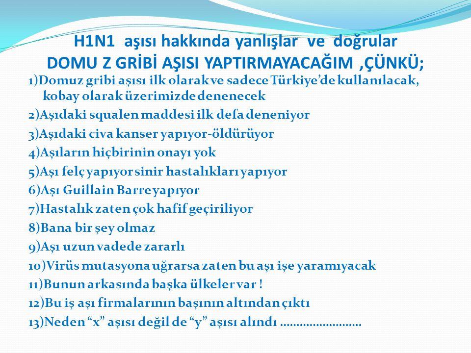 H1N1 aşısı hakkında yanlışlar ve doğrular DOMU Z GRİBİ AŞISI YAPTIRMAYACAĞIM,ÇÜNKÜ; 1)Domuz gribi aşısı ilk olarak ve sadece Türkiye'de kullanılacak,