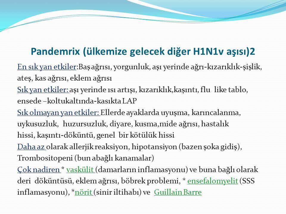Pandemrix (ülkemize gelecek diğer H1N1v aşısı)2 En sık yan etkiler:Baş ağrısı, yorgunluk, aşı yerinde ağrı-kızarıklık-şişlik, ateş, kas ağrısı, eklem