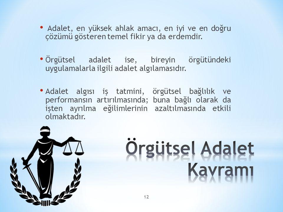 Adalet, en yüksek ahlak amacı, en iyi ve en doğru çözümü gösteren temel fikir ya da erdemdir. Örgütsel adalet ise, bireyin örgütündeki uygulamalarla i