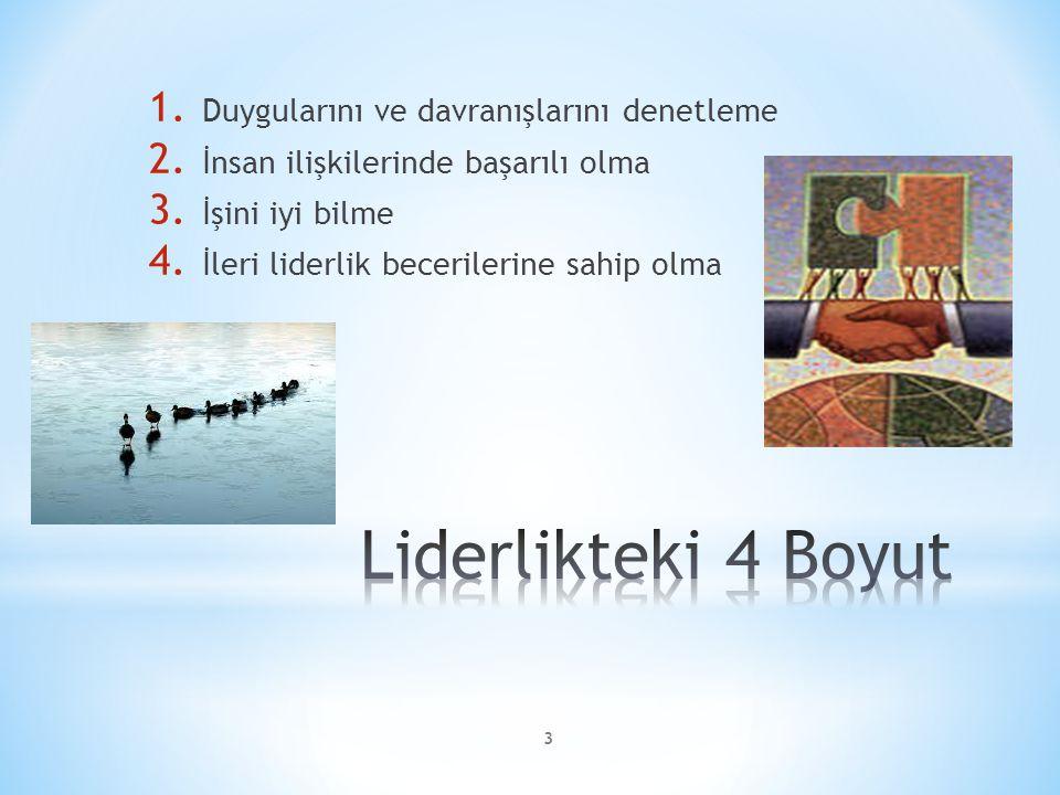 1. Duygularını ve davranışlarını denetleme 2. İnsan ilişkilerinde başarılı olma 3. İşini iyi bilme 4. İleri liderlik becerilerine sahip olma 3