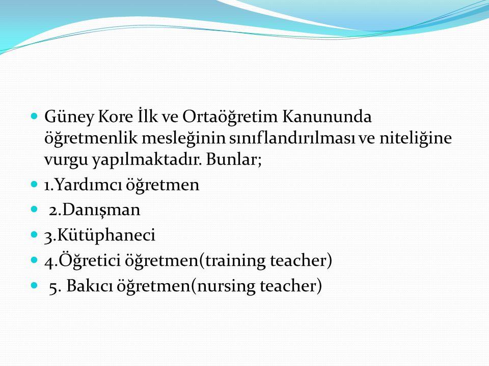 Öğretmenlerin Hizmet İçi Eğitim Güney Kore'de ilk ve ortaöğretimde görev yapan öğretmenler ile kütüphaneci ve yöneticiler en az 30 günlük (toplam 180 saat) hizmet içi eğitim almak zorundadırlar.