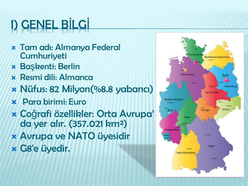  Tam adı: Almanya Federal Cumhuriyeti  Ba ş kenti: Berlin  Resmi dili: Almanca  Nüfus: 82 Milyon(%8.8 yabancı)  Para birimi: Euro  Co ğ rafi öze