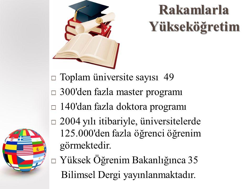 Rakamlarla Yükseköğretim  Toplam üniversite sayısı 49  300 den fazla master programı  140 dan fazla doktora programı  2004 yılı itibariyle, üniversitelerde 125.000 den fazla öğrenci öğrenim görmektedir.