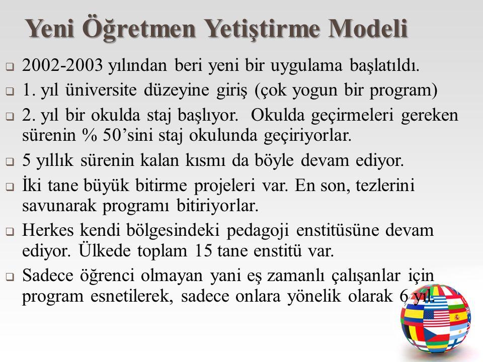 Yeni Öğretmen Yetiştirme Modeli  2002-2003 yılından beri yeni bir uygulama başlatıldı.