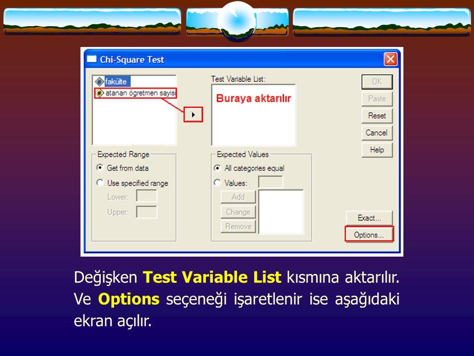 Değişken Test Variable List kısmına aktarılır.